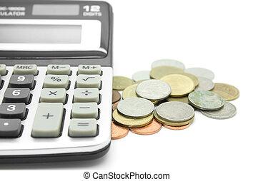 計算機, コイン, 白い背景