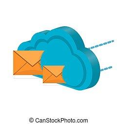 計算, シンボル, メッセージ, 3d, 雲, アイコン