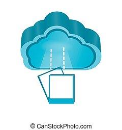 計算, シンボル, 写真, アイコン, 雲, 3d