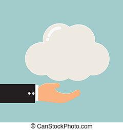 計算, スペース, の上, ベクトル, 終わりを持つ, ビジネスマン, コピー, 雲