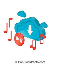 計算, メモ, 3d, ミュージカル, 雲, アイコン