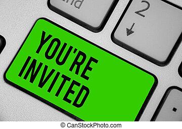 計算, 写真, コンピュータキーボード, 私達の, invited., ゲスト, レ, どうか, 執筆, メモ, intention, あなた, ありなさい, ビジネス, 提示, 歓迎, キー, 祝福, 参加しなさい, 反射, 私達, 緑, showcasing, document.