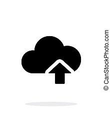計算, 単純である, アップロード, バックグラウンド。, 白い雲, アイコン