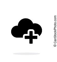 計算, 単純である, バックグラウンド。, プラス, 白い雲, アイコン