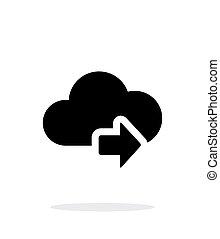 計算, 単純である, 次に, バックグラウンド。, 矢, 白い雲, アイコン