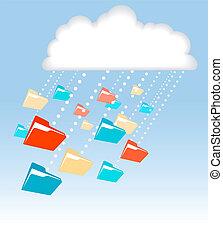 計算, 技術, 雨, ファイルフォルダー, データ, 雲