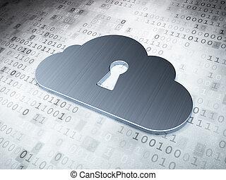 計算, 鍵穴, concept:, 背景, デジタル, 銀, 雲