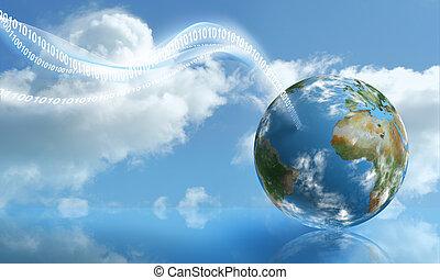 計算, 雲, タッチダウン, デジタル