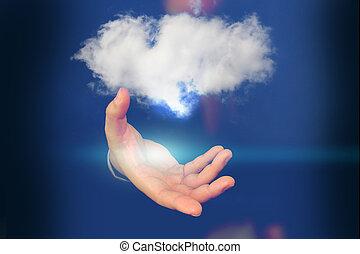 計算, 雲, 保有物, ビジネスマン, cloud.