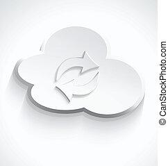 計算, 雲, 流し, アイコン, 3d, 白