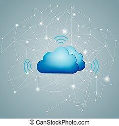 計算, 雲, 背景, concept., ネットワーキング, デザイン, gray.