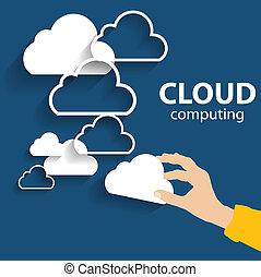 計算, 雲, devices., 別, ベクトル, 電子, 概念
