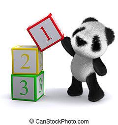 計算, 3d, 3, パンダ