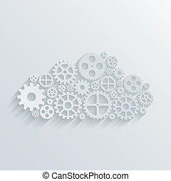 計算, concept., 現代, メカニズム, ベクトル, 雲