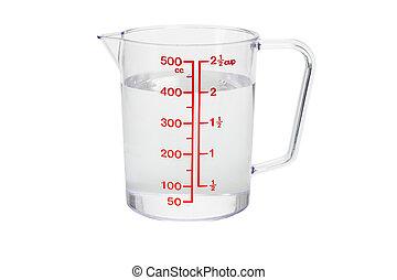 計量カップ, プラスチック, 水, 満たされた, 台所