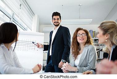 討論會, 以及, 業務會議, 在, 公司, 辦公室