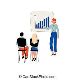 訓練, グループ, ビジネスオフィス, 人々, プレゼンテーション, イラスト, チームワーク, ベクトル, ビジネスマン, スタッフ, ミーティング