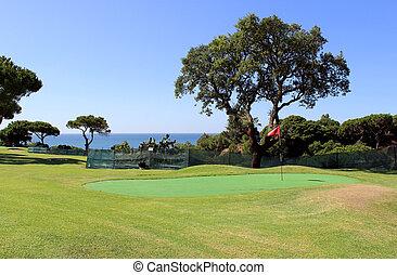 訓練, ゴルフコース, algarve, 海岸線, 風景