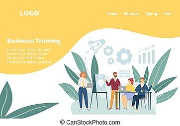 訓練, スタッフ, ワークショップ, ベクトル, illustration., チームのミーティング, ビジネスオフィス