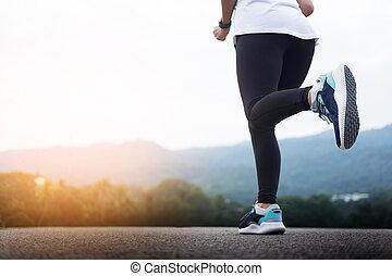 訓練, スプリント, ランナー, 動くこと, man., 屋外で, マレ, スピード, マラソン