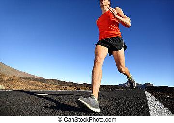訓練, スプリント, ランナー, -, 走っている男性, 人