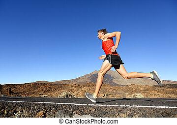 訓練, スポーツ, ランナー, -, 動くこと, 屋外で, マレ, 人