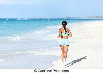 訓練, スポーティ, ランナー, cardio, 日当たりが良い, 動くこと, 衣装, ジョッギング, 浜