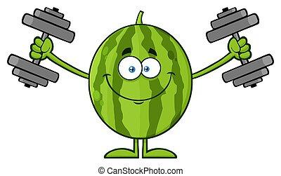 訓練, ダンベル, 健康, 特徴, 緑, フルーツ, スイカ, 新たに, 漫画, マスコット