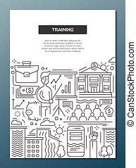 訓練, ビジネス, ポスター, -, デザイン, a4, テンプレート, パンフレット, 線