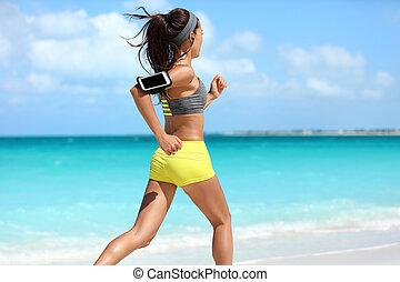 訓練, フィットしなさい, ランナー, cardio 点検, 動くこと, 浜