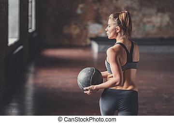 訓練, ボール, 若い 女の子