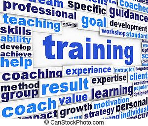 訓練, メッセージ, 概念, デザイン
