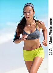 訓練, ランナー, cardio, ジョッギング, 動くこと, 浜, スポーツウェア