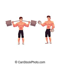 訓練, 仕事, ボディービルダー, バーベル, dumbbell, から, weightlifter, 人