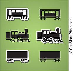 訓練, 以及, 貨車, silhouets