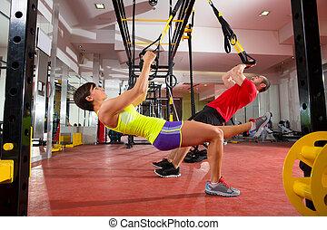 訓練, 女, ジム, trx, フィットネス, 練習, 人