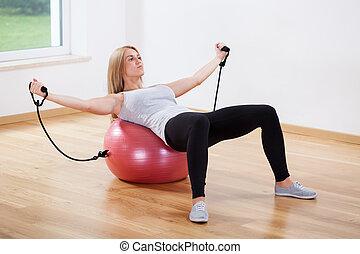 訓練, 女, ボール, フィットネス