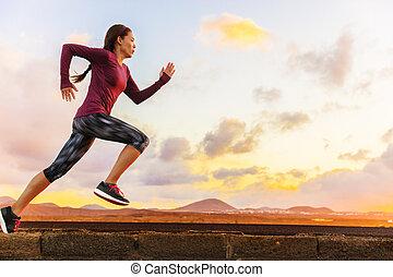 訓練, 女, ランナー, 運動選手, 小道ラニング, cardio