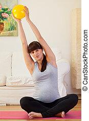 訓練, 女, 妊娠した, 床