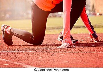訓練, 女, 操業, outdoors.