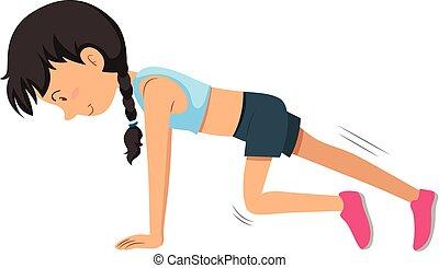 訓練, 女, 若い, 重量, 練習