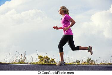 訓練, 女, 運動, 動くこと, ジョッギング, 日没, outdoors., 外, 道