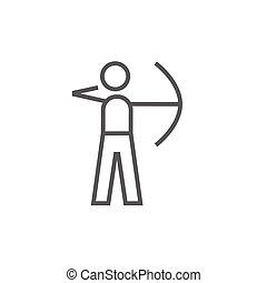 訓練, 射手, 線, icon., 弓