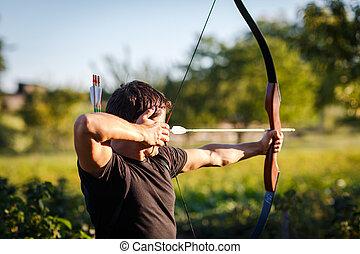 訓練, 射手, 若い, 弓
