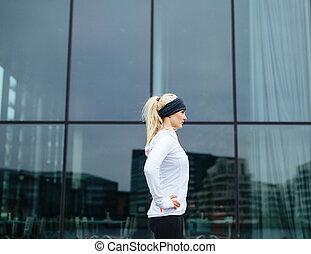 訓練, 屋外, スポーティ, 彼女, セッション, 女性, 準備ができた