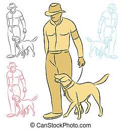 訓練, 彼の, 犬, 人
