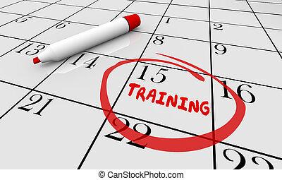 訓練, 教育, 學習, 類別, 日曆, 3d, 插圖