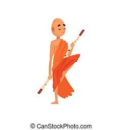 訓練, 木制, 佛教徒, 字, 僧侶, 插圖, 卡通, 矢量, 棍, 背景, 橙, 白色, 長袍