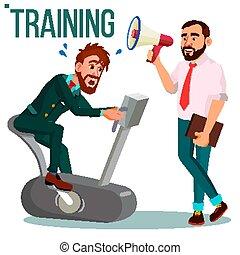 訓練, 概念, オフィス, ビジネス, working., 懸命に, 隔離された, イラスト, seminar., 動くこと, suit., bike., vector., worker., ビジネスマン, ショー, 教師, 練習, way.