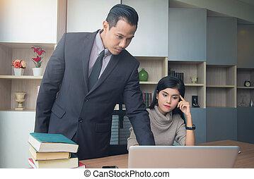 訓練, 概念, ビジネス, オフィス。, コーチ, 上司, 仕事, ビジネスマン, 教授, 教育, リーダー, 秘書
